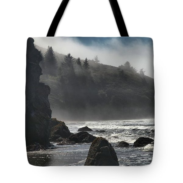 Giants In The Fog Tote Bag by Adam Jewell