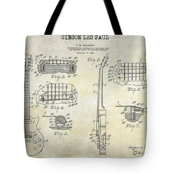 Gibson Les Paul Patent Drawing Tote Bag by Jon Neidert