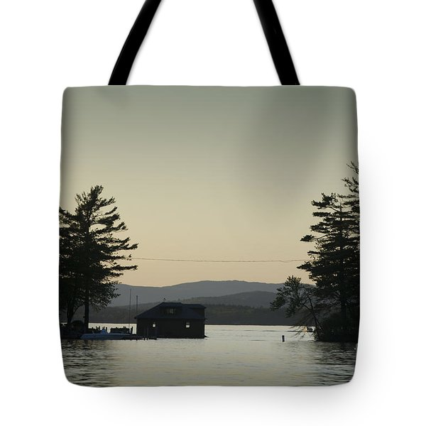 Gilford Harbor Boathouse Tote Bag by David Gordon