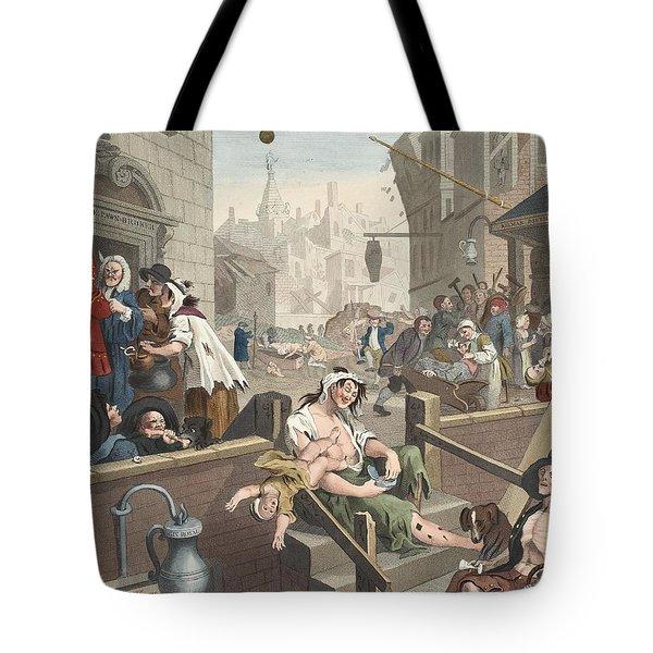 Gin Lane, Illustration From Hogarth Tote Bag by William Hogarth