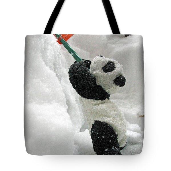 Ginny The Baby Panda In Winter #01 Tote Bag by Ausra Huntington nee Paulauskaite