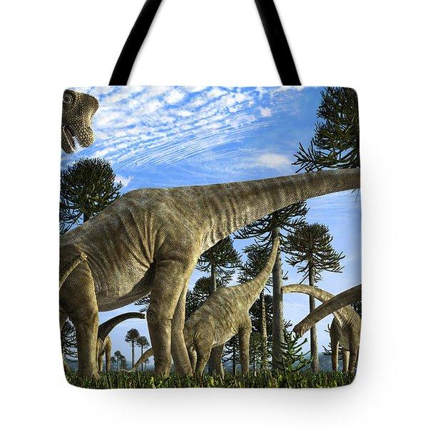Giraffatitan Brancai Dinosaurs Grazing Tote Bag by Rodolfo Nogueira