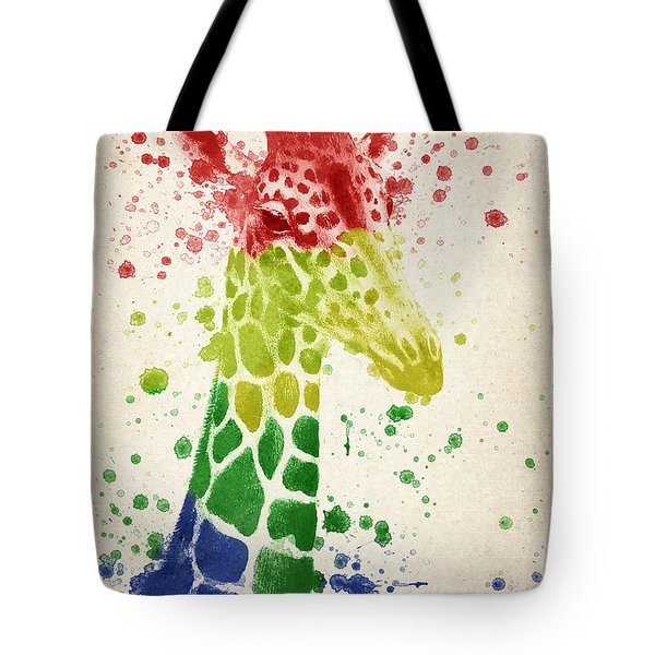 Giraffe Splash Tote Bag by Aged Pixel
