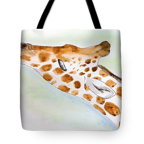 Giraffe With Tongue Out Tote Bag by Pati Photography