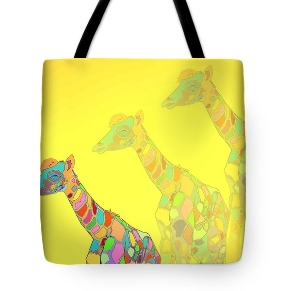 Giraffe X 3 - Yellow - The Card Tote Bag by Joyce Dickens