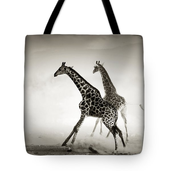Giraffes Fleeing Tote Bag by Johan Swanepoel
