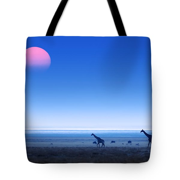 Giraffes On Salt Pans Of Etosha Tote Bag by Johan Swanepoel
