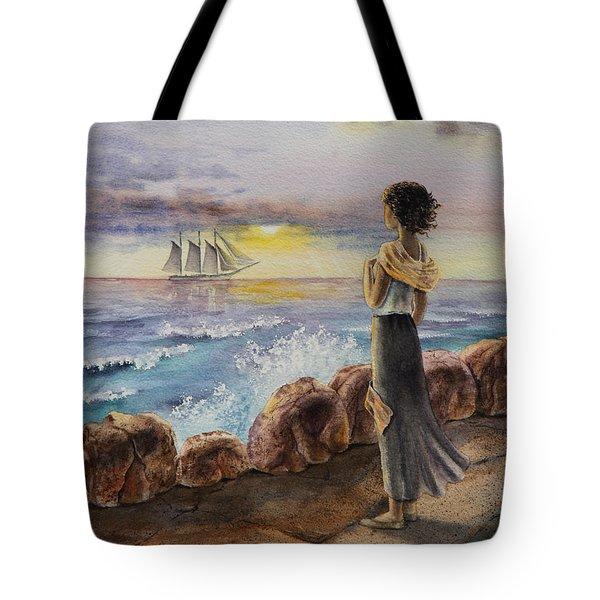 Girl And The Ocean Sailing Ship Tote Bag by Irina Sztukowski