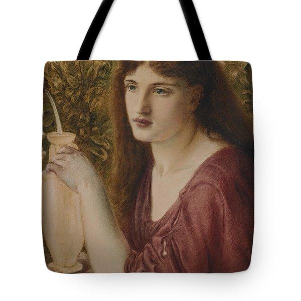 Girl At A Fountain Tote Bag by Simeon Solomon