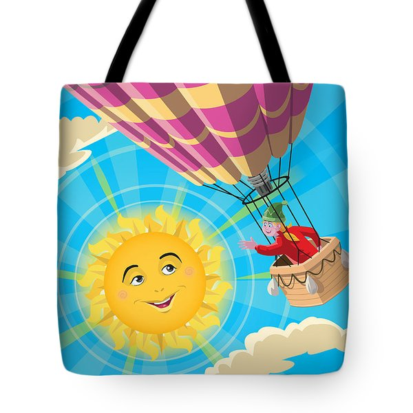 Girl In A Balloon Greeting A Happy Sun Tote Bag by Martin Davey