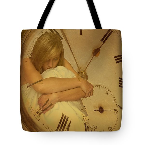 Girl In White Dress In Pocket Watch Tote Bag by Amanda Elwell