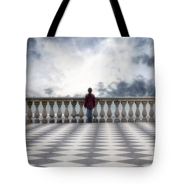Girl On A Terrace Tote Bag by Joana Kruse