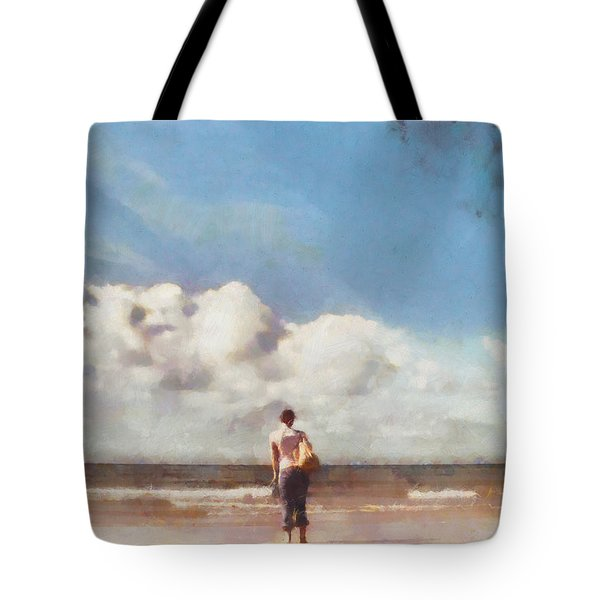 Girl on beach Tote Bag by Pixel Chimp