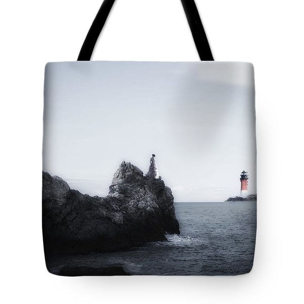 Girl On Cliffs Tote Bag by Joana Kruse