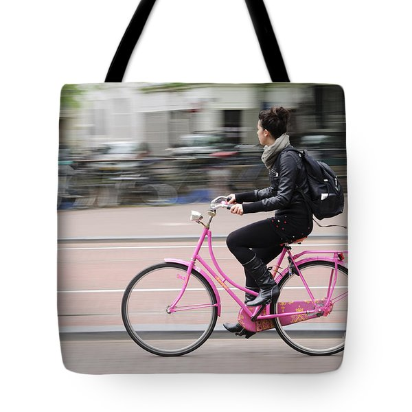 Girl On Pink Bicycle Tote Bag by Oscar Gutierrez