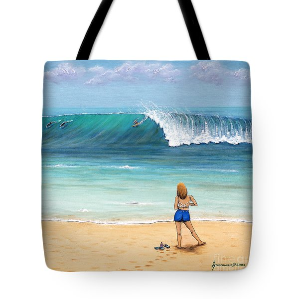 Girl On Surfer Beach Tote Bag by Jerome Stumphauzer