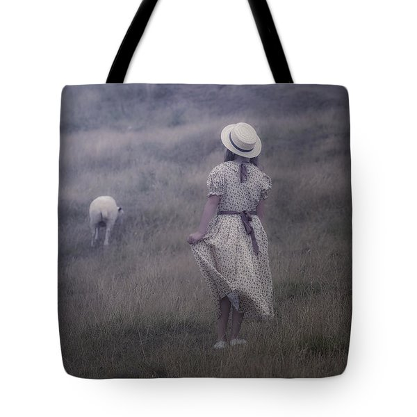 girl with sheeps Tote Bag by Joana Kruse