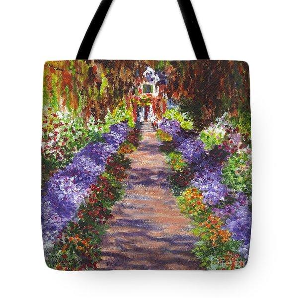 Giverny Gardens Pathway After Monet  Tote Bag by Carol Wisniewski