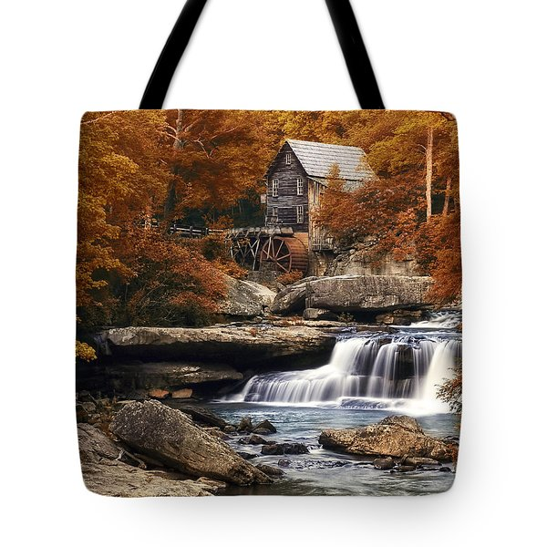Glade Creek Mill in Autumn Tote Bag by Tom Mc Nemar