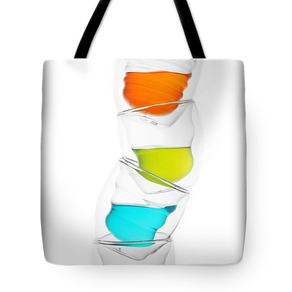 Glass Cups And Colorful Drinking II Liquid Art Tote Bag by Paul Ge