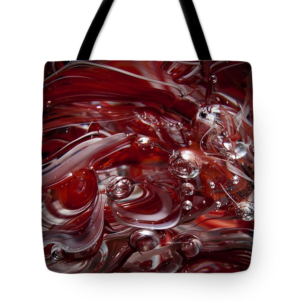 Glass Macro Abstract - Crimson And Gray Iv Tote Bag by David Patterson