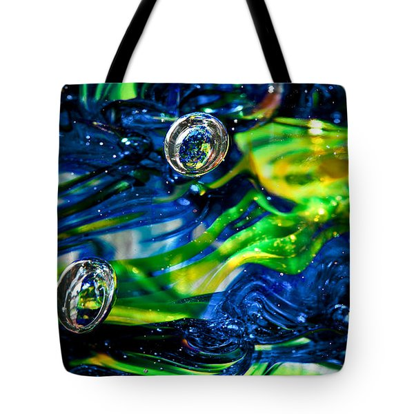 Glass Macro - Seahawks Blue and Green -13E4 Tote Bag by David Patterson