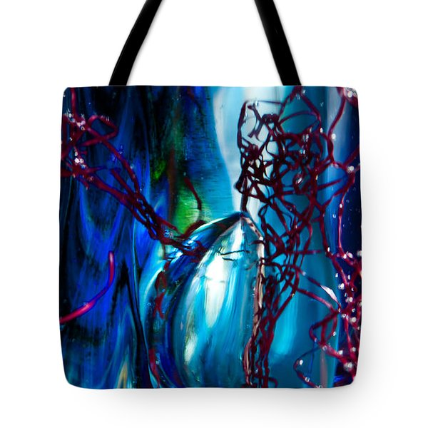 Glass Macro - The Blue Bubble Tote Bag by David Patterson