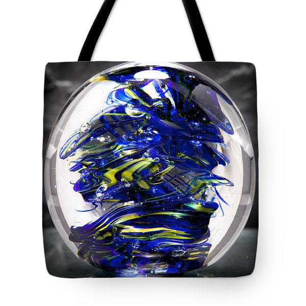 Glass Sculpture Cobalt Blue And Yellow - 13r2 Tote Bag by David Patterson