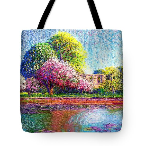 Glastonbury Abbey Lily Pool Tote Bag by Jane Small