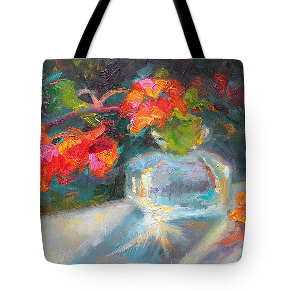 Gleaning Light Nasturtium Still Life Tote Bag by Talya Johnson