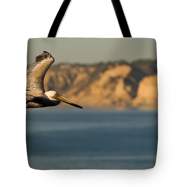 Gliding Pelican Tote Bag by Sebastian Musial