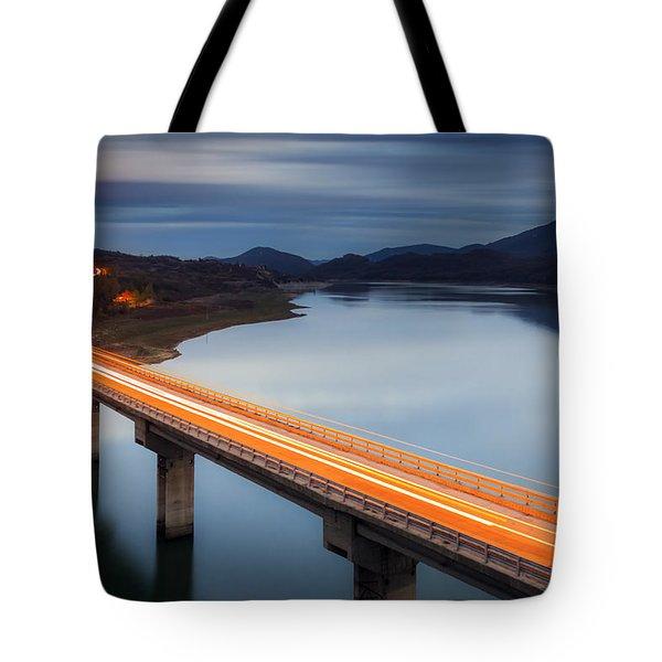 Glowing Bridge Tote Bag by Evgeni Dinev