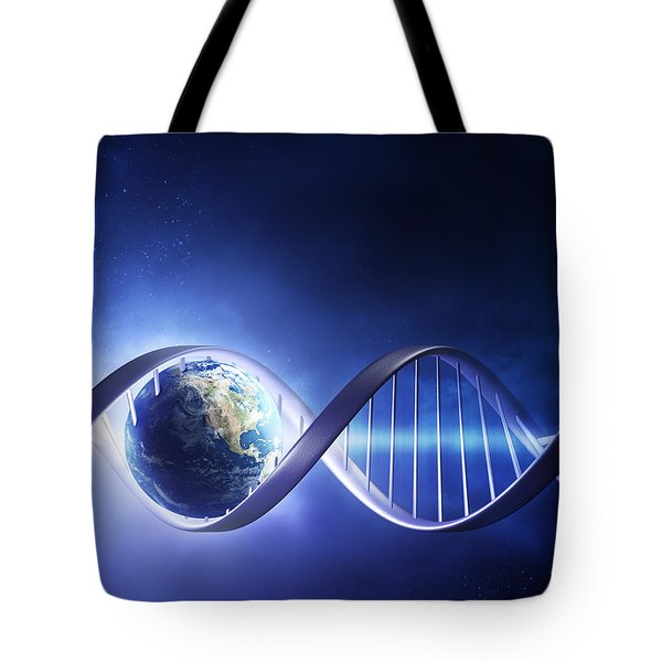 Glowing earth DNA strand Tote Bag by Johan Swanepoel