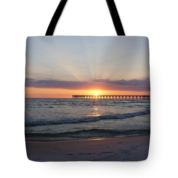 Glowing Sunset Tote Bag by Sandy Keeton