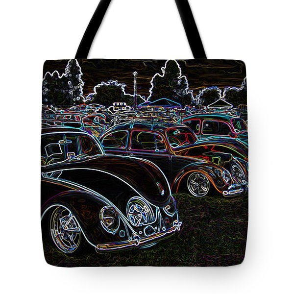 Glowing Vw Beetles Tote Bag by Steve McKinzie