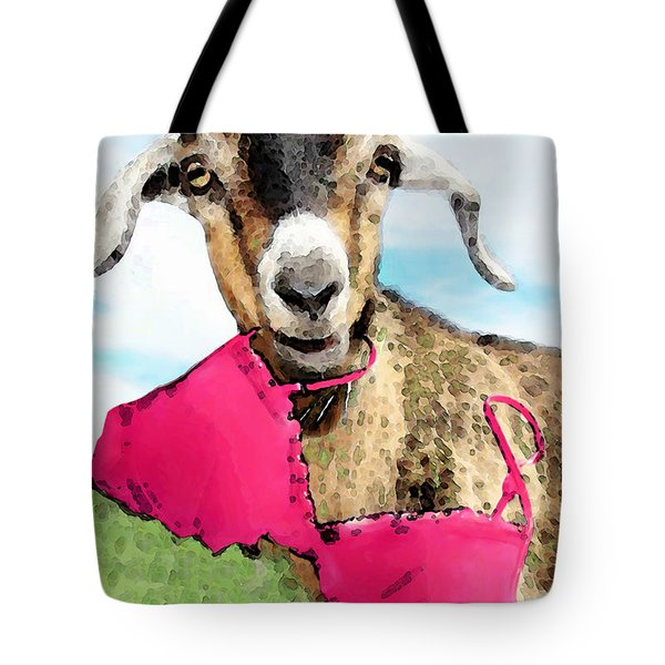 Goat Art - Oh You're Home Tote Bag by Sharon Cummings