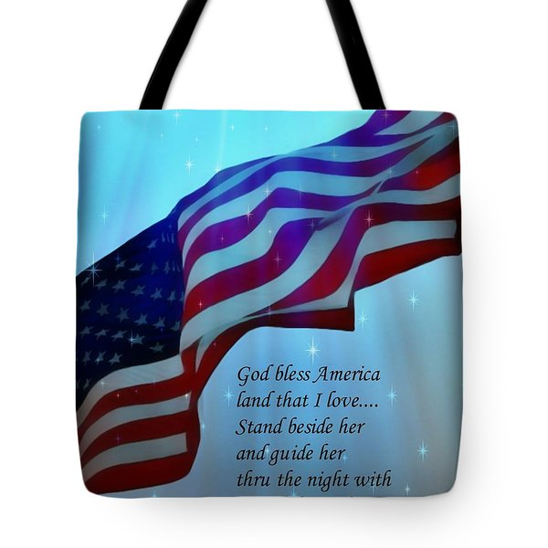 God Bless America Tote Bag by Barbara Chichester