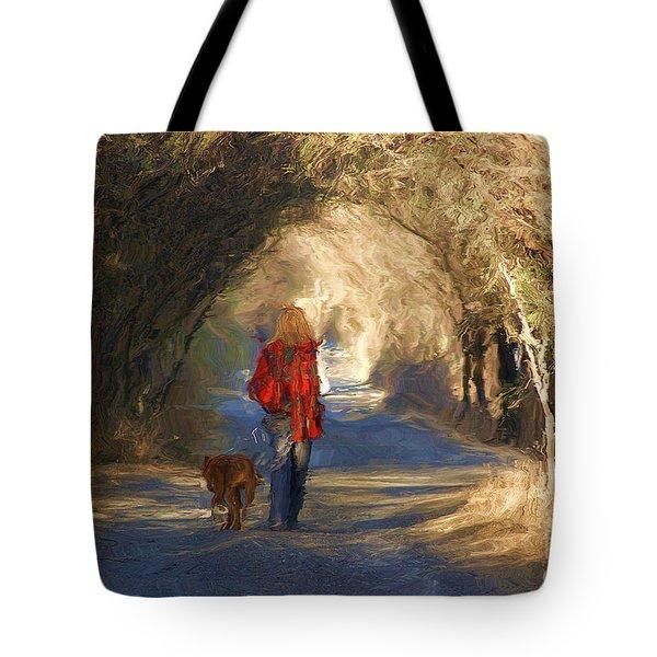 Going For A Walk Tote Bag by John  Kolenberg