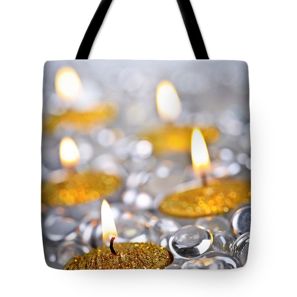 Gold Christmas Candles Tote Bag by Elena Elisseeva