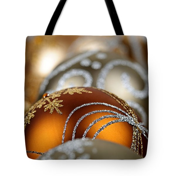 Gold Christmas ornaments Tote Bag by Elena Elisseeva