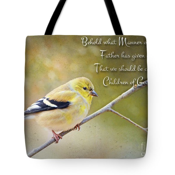 Gold Finch On Twig With Verse Tote Bag by Debbie Portwood