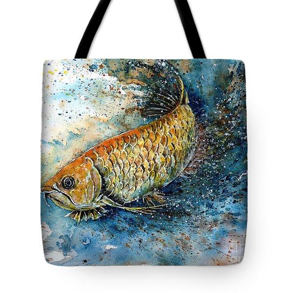 Golden Arowana Tote Bag by Zaira Dzhaubaeva