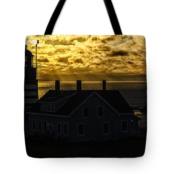Golden Backlit West Quoddy Head Lighthouse Tote Bag by Marty Saccone