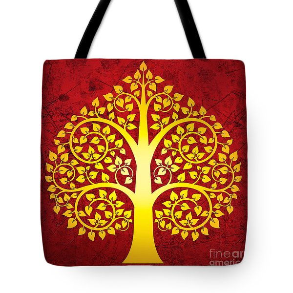 Golden Bodhi Tree No.1 Tote Bag by Bobbi Freelance
