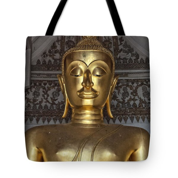 Golden Buddha Temple Statue Tote Bag by Antony McAulay