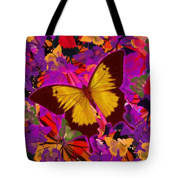 Golden Butterfly Painting Tote Bag by Alixandra Mullins