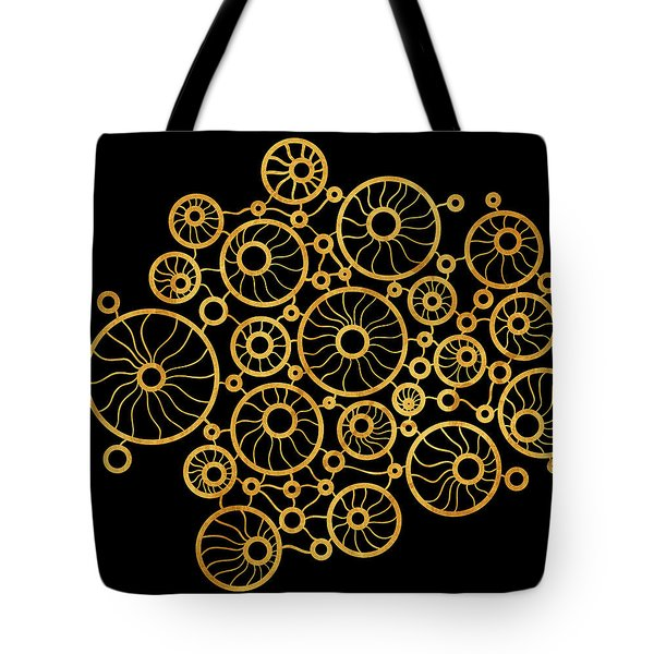 Golden Circles Black Tote Bag by Frank Tschakert