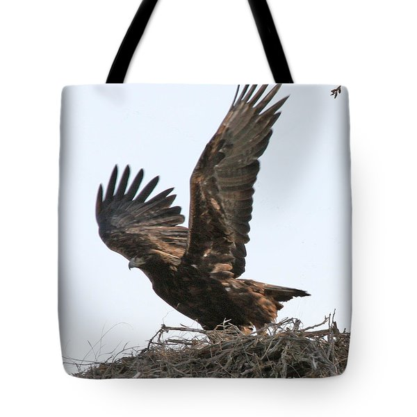 Tote Bag featuring the photograph Golden Eagle Takes Off by Bill Gabbert