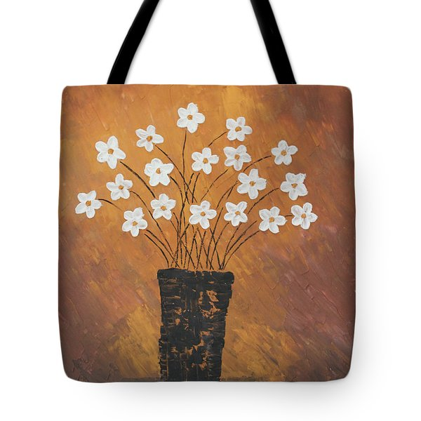 Golden Flowers Tote Bag by Home Art