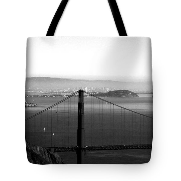 Golden Gate and Bay Bridges Tote Bag by Linda Woods